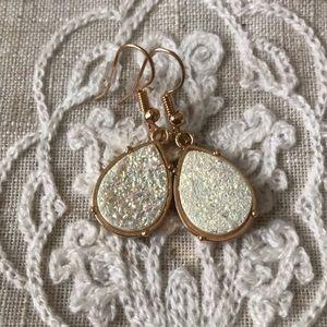 White druzy and gold dangle earrings teardrop